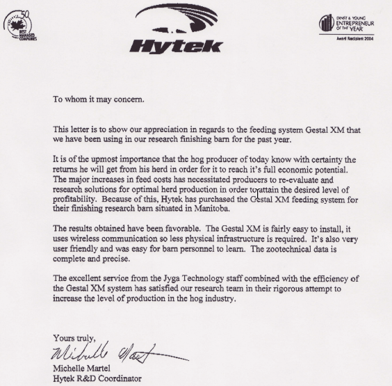 Hylife's letter of recommendation for Gestal manufactured by Jyga Technologies